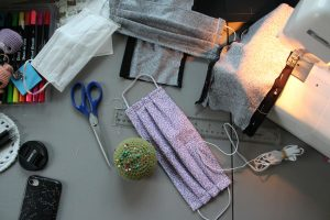 can you sew over pins